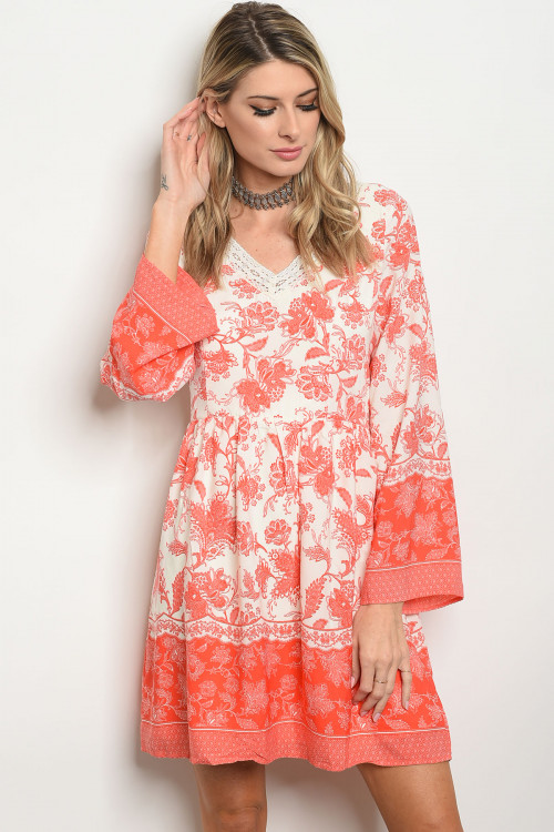 103-5-4-D1594 IVORY CORAL DRESS 2-2-2