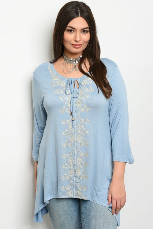 112-4-4-T325RX SKY BLUE PLUS SIZE TOP 2-2-2