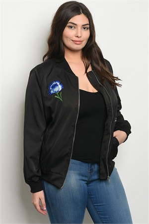 S14-3-4-J51268X BLACK PLUS SIZE JACKET 2-2-2