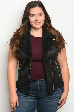 S12-10-2-V16665X BLACK PLUS SIZE VEST 2-2-2