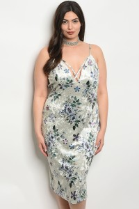 S13-1-1-D16745X CREAM VELVET FLORAL PLUS SIZE DRESS 2-2-2