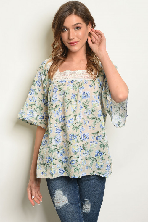 S12-8-4-T70407 KHAKI BLUE TOP 2-2-2