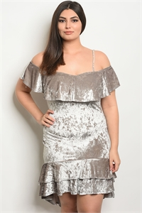 C89-A-7-D6261X SILVER VELVET PLUS SIZE DRESS 2-2-2