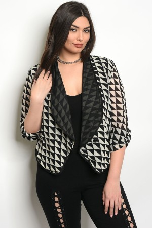 135-4-1-J2629 BLACK CREAM PLUS SIZE JACKET 2-2-2