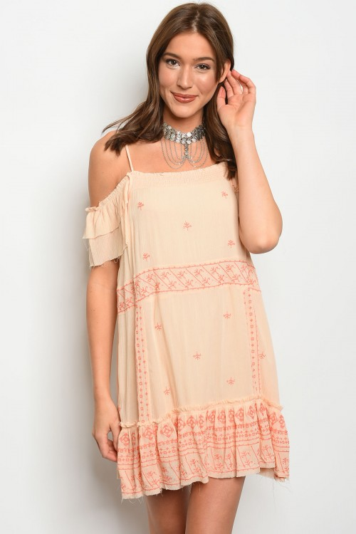 108-4-3-D9627 LIGHT PEACH DRESS 1-2-2