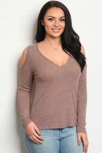 119-2-2-T5912X DUSTY ROSE PLUS SIZE TOP 3-2-1