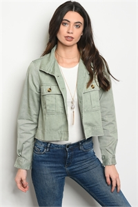 117-2-2-J90338 LIGHT OLIVE DENIM JACKET 3-2-1