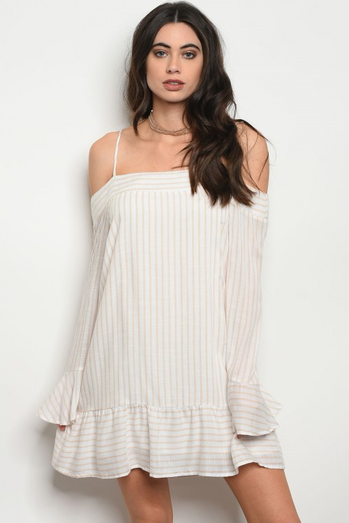 1083-3-D9245 OFF WHITE TAUPE STRIPES DRESS 3-2-1