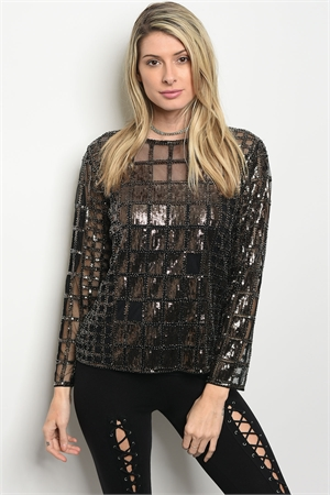 S2-9-5-T3743 BLACK WITH SEQUINS TOP / 6PCS