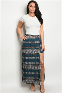 C9-A-1-S8421X TEAL RUST PLUS SIZE SKIRT 1-2-2