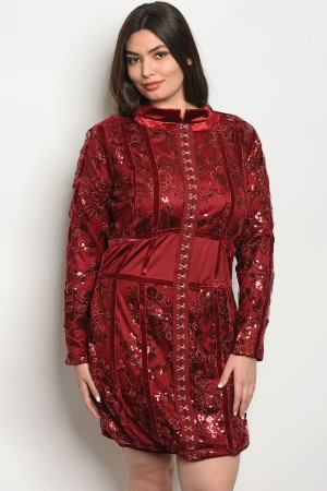 S9-2-5-D8517X BURGUNDY WITH SEQUINS PLUS SIZE DRESS 2-2-2