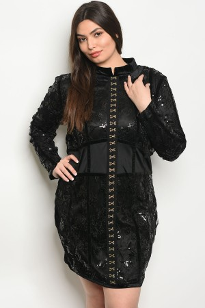 S10-1-1-D8517X BLACK WITH SEQUINS PLUS SIZE DRESS 2-2-2