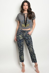 120-3-4-P233 BLUE CAMOUFLAGE PANTS / 4PCS