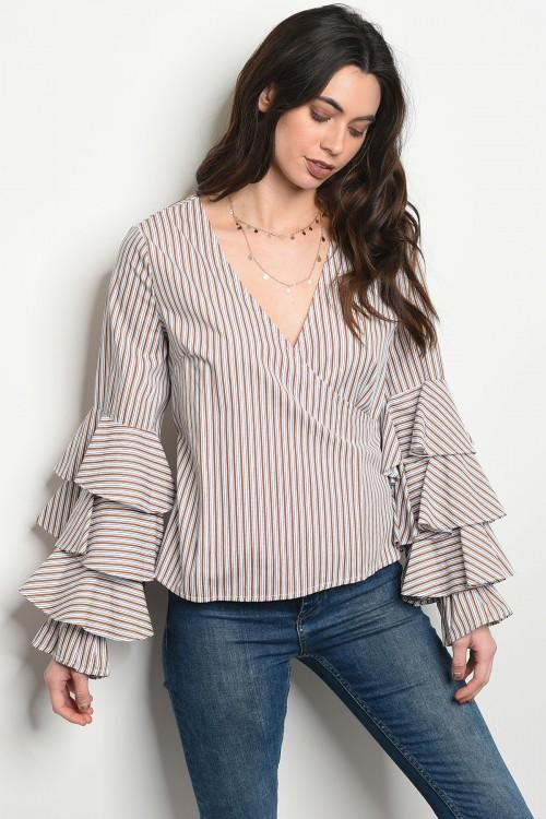 110-5-1-T21358 WHITE MUSTARD STRIPES TOP 2-2-2