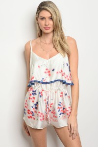 C12-A-2-R5256 IVORY CORAL FLORAL ROMPER 3-2-1