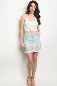 S2-7-4-NA-S1428 BLUE DENIM SKIRT 3-2-1
