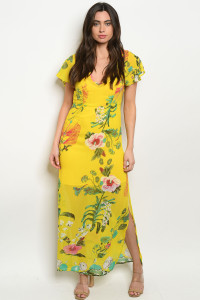 S11-20-1-D9856 YELLOW FLORAL DRESS 2-2-2