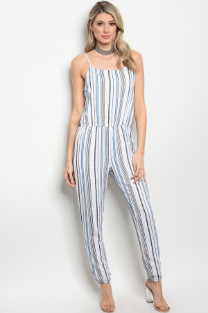 S2-7-5-J9505 OFF WHITE BLUE STRIPES JUMPSUIT 2-2-2