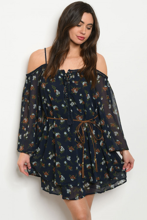 S20-12-1-T2033 NAVY WITH BLUE FLOWERS DRESS 2-2-2