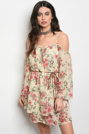 S2-5-3-T2033 CREAM FLORAL DRESS 2-2-2