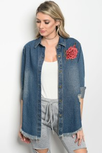 S3-8-1-J5479 DENIM FLOWER PATCHED JACKET 3-2-1
