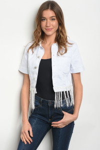 S8-13-1-J5332 WHITE FRINGE DENIM JACKET 3-2-1