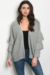 S3-10-3-C2471 GRAY SWEATER CARDIGAN 3-2-1
