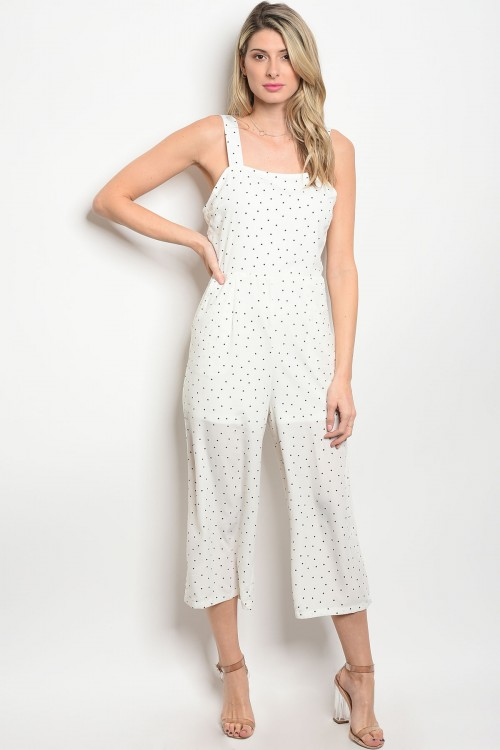 103-5-2-J71056 WHITE WITH BLACK DOTS JUMPSUIT 2-2-2