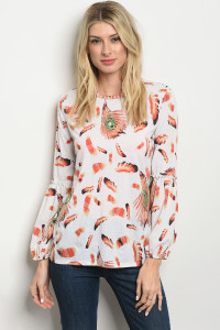 C55-B-2-T2976995 OFF WHITE FEATHER PRINT TOP 2-2-2
