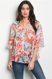 132-3-2-T75271 IVORY FLORAL TOP 2-2-2