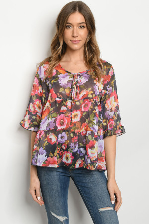 S20-12-5-T75271 MULTI FLORAL TOP 2-2-2