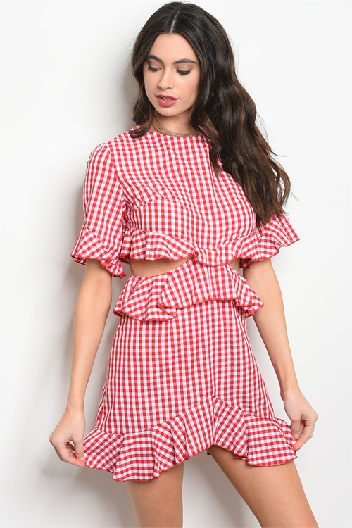 111-5-1-D37034 RED WHITE GINGHAM DRESS 2-2-2