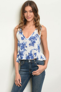 C53-B-5-NA-T704491 WHITE BLUE FLORAL TOP 3-2-1