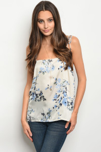 S12-1-4-NA-T0445 CREAM FLORAL TOP 3-2-1