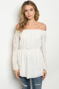 S12-1-2-T0380 OFF WHITE, OFF THE SHOULDER DRESS 3-2-1