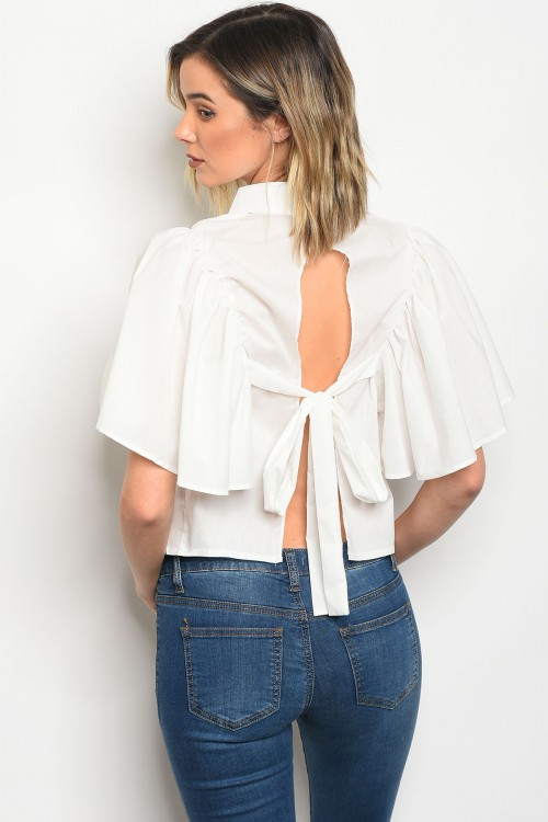 111-3-45-T8908 OFF WHITE POPLIN TOP 2-2-2