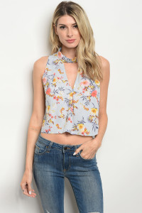 S13-11-1-T8412 LIGHT BLUE FLORAL TOP 3-2-1