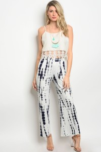 S3-8-5-P6654 WHITE NAVY TIE DYE PANTS 2-2-2