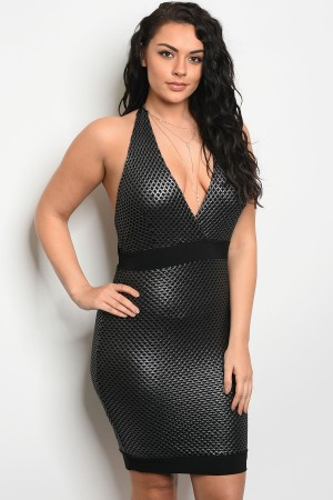 C67-A-1-D23154X BLACK SILVER PLUS SIZE DRESS 2-2-3