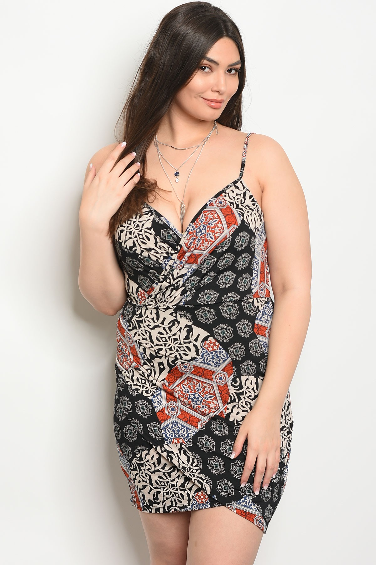 C66-A-5-D23072X BLACK RUST CREAM PLUS SIZE DRESS 2-2-2