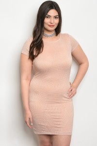 C78-A-3-D23021X TAN PLUS SIZE DRESS 2-2-2