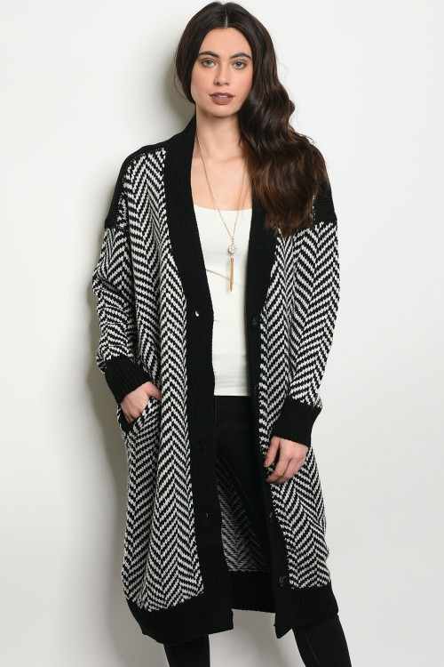S15-4-4-C057 BLACK WHITE CARDIGAN 2-1