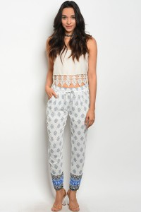 S2-4-5-P9457 OFF WHITE GRAY PANTS 2-2-2