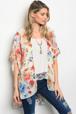 C25-A-4-C21189 IVORY RUST FLORAL KIMONO 2-2-2