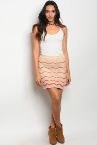 123-3-1-NAS5017 CREAM RUST PINK SKIRT 3-2-1
