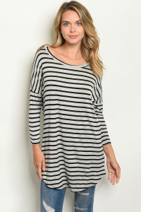 C2-A-6-T1213 GRAY BLACK STRIPES TOP 3-2-1