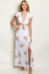 S3-5-1-D8718 WHITE PEACH FLORAL DRESS 3-2-1