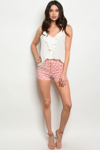 S10-12-5-S0714 PINK WHITE POLKA DOTS DENIM SHORTS 2-3-3-1