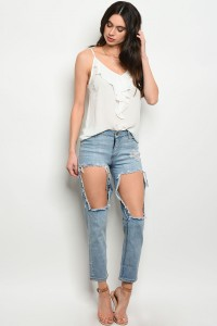 S15-2-2-P1511 LIGHT BLUE DENIM DISTRESSED PANTS 2-2-2-2