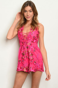 SA3-4-4-R7174 FUCHSIA WITH FLOWERS EMBROIDER ROMPER 3-2-1